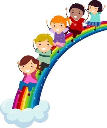 arcoiris caricatura: Ilustraci�n de los ni�os de diferentes etnias desliz�ndose por un arco iris Foto de archivo