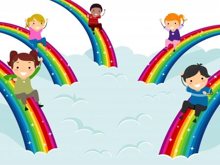 bonhomme allumette: Illustration des enfants de diff�rentes ethnies coulissant vers le bas Rainbows Banque d'images