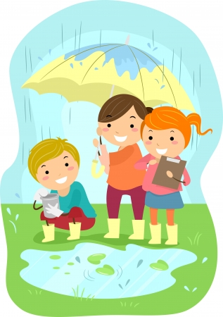 cartoon rain: Illustration of Kids Conducting an Experiment in the Middle of the Rain Stock Photo