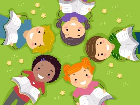 bambini che leggono: Illustrazione di bambini leggere libri in un campo aperto