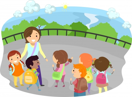 tour guide: Illustration of a Teacher and Kids Out on a Field Trip