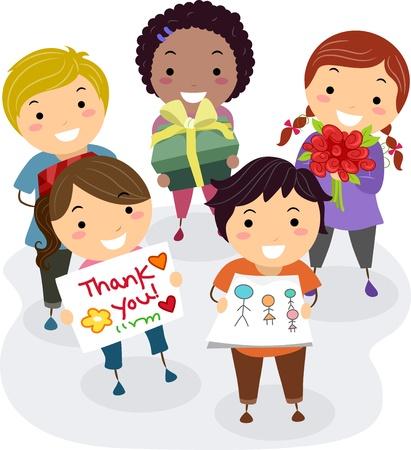 dessin enfants: Illustration de Kids Pr�sentation Cadeaux, fleurs, et merci des cartes comme un cadeau pour leur Ma�tre