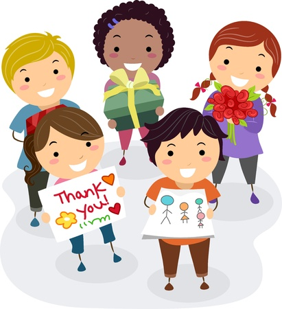 Illustration of Kids Presenting Gifts, Flowers, and Thank You Cards as a Gift for their Teacher