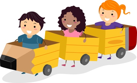 Illustration of Kids Riding Pencil Shaped Carriages Made from Cardboard illustration