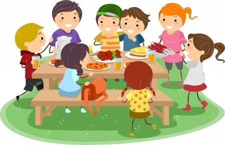 bonhomme allumette: Illustration des enfants ayant un pique-nique