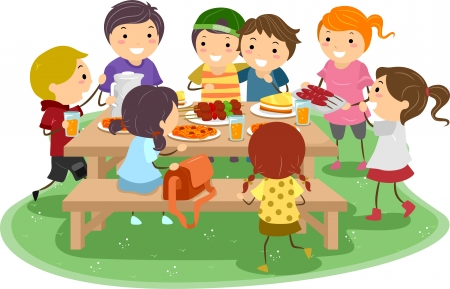 kids eating: Illustration of Kids Having a Picnic