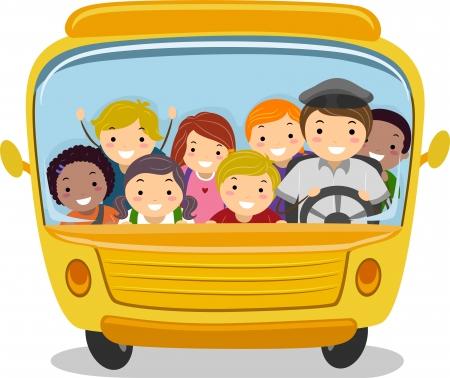 transporte escolar: Ilustración de los niños de la escuela de equitación de un autobús escolar