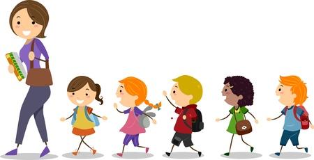 niños en la escuela: Ilustración de los niños escolares después de su Maestro