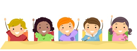Illustration of School Kids Lined Up in a Row and Raising Their Hands Stock Photo