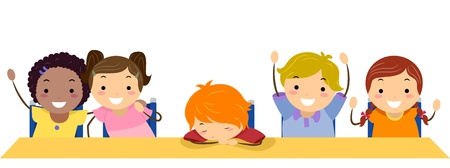 dozing: Illustration of a Kid Sleeping in Class Stock Photo