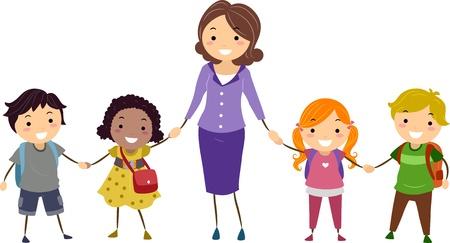 教師: 插圖學校孩子們和他們的老師手牽著手