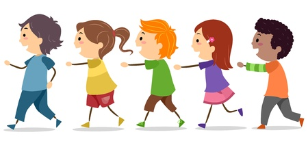 cartoon school girl: Illustration of School Kids Walking in One Line