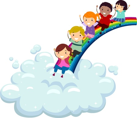 Illustration of Kids of Different Ethnicities Sliding Down a Rainbow