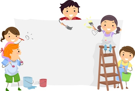 Illustration of Kids Painting a Blank Board illustration