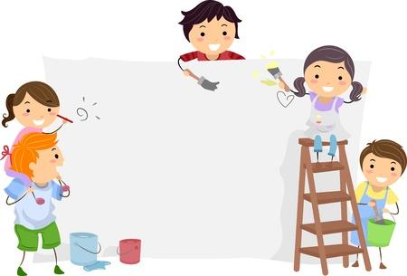 niños pintando: Ilustración de los cabritos Pintura un tablero en blanco