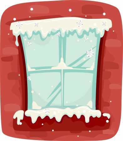 pane: Illustration of a Frozen Window Pane Against a Red Background