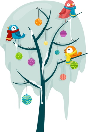 scarves: Illustration of Birds Wearing Scarves Perched on a Frozen Tree Decorated with Christmas Baubles