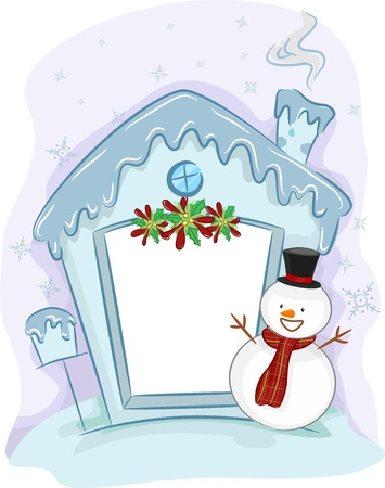 Illustration of a Snowman Standing Beside a House Made of Ice illustration