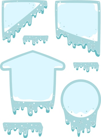 icy: Illustration of Ready to Print Labels with Icy Designs