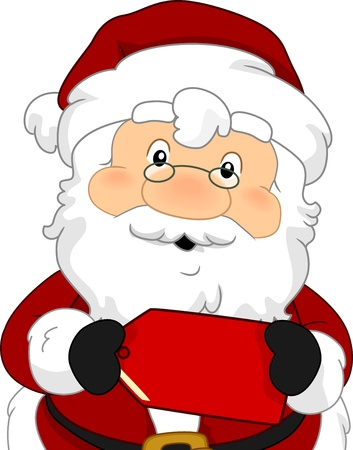 Illustration of Santa Claus Holding a Red Tag from an Item on Sale illustration
