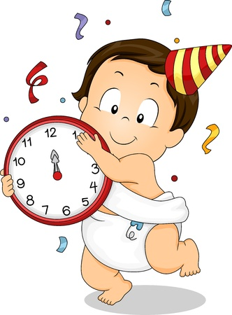 Illustration of a Baby Boy Holding a Clock Celebrating New Year with Confetti and a Party Hat Stock Illustration - 17430210