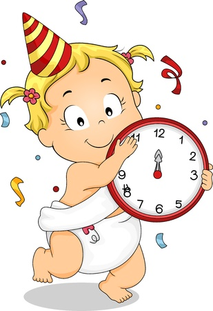 Illustration of a Baby Girl Holding a Clock Celebrating New Year with Confetti and a Party Hat illustration