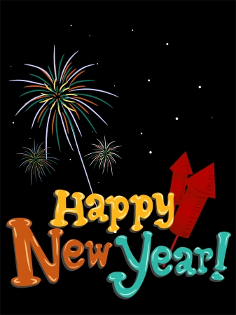 noise maker: Illustration Featuring Colorful Fireworks and New Year Greetings Stock Photo