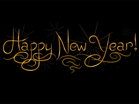 cursive: Illustration Featuring Cursive New Year Greetings Against a Black Background Stock Photo