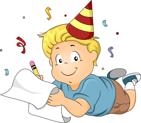special occasion: Illustration of a Boy Wearing a Party Hat Writing His New Years Resolutions Stock Photo