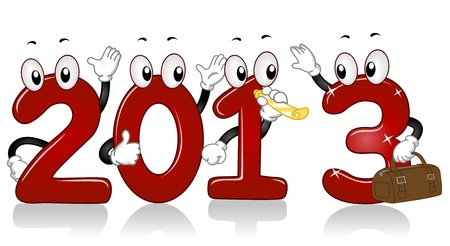 cartoonize: Illustration of Mascots Depicting the Arrival of New Year 2013 Stock Photo