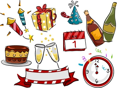 Illustration Featuring Different New Year Related Icons Stock Illustration - 17430243
