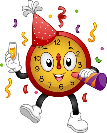 Illustration of a Clock Mascot Wearing a Party Hat and Using a Noise Maker to Celebrate New Year illustration