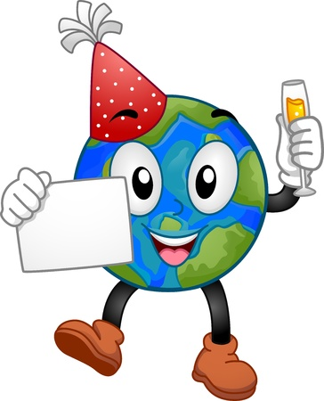 mother earth: Illustration of an Earth Mascot Holding a Wine in One Hand and a Blank Piece of Paper on the Other Stock Photo
