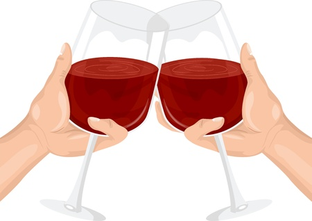 clinking: Illustration of Two Persons Clinking their Wine Glasses in a Toast Stock Photo
