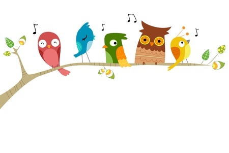 cartoon owl: Illustration of Birds Singing perched on a branch of a tree Stock Photo