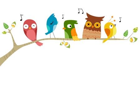 pajaro: Ilustración de los pájaros cantando posado en una rama de un árbol