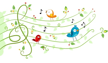 Illustration of different kinds of Birds in Musical Design illustration