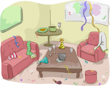 messy room: Illustration of House After a Party