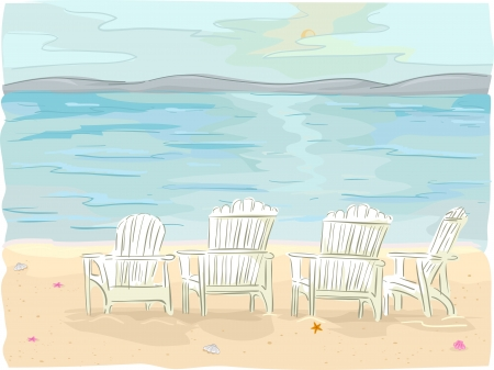 Illustration of Beach Chairs on Seaside illustration
