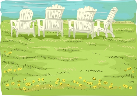 Illustration of Beach Chairs in Grassfield overlooking the sea Stock Illustration - 17430237