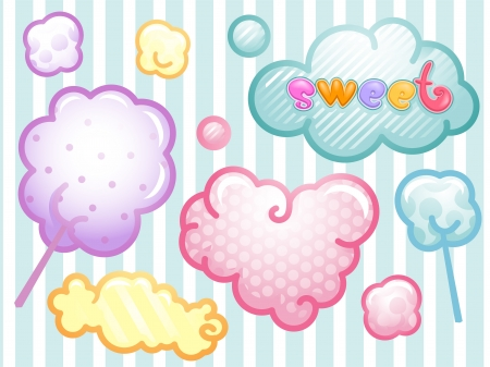 Illustration of colorful Sweet Cloud Labels illustration