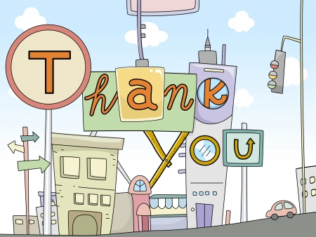 Illustration of Thank You Card Urban Design illustration