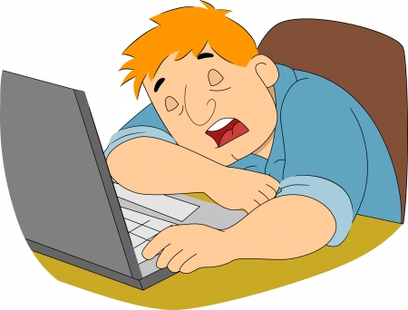 man with laptop: Illustration of a Guy Writer Sleeping in front of his computer