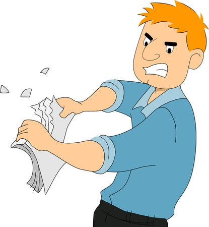 shred: Illustration of a boy writer tearing pieces of paper