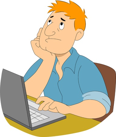 blogger: Illustration of a boy writer thinking with hands on chin