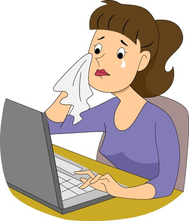 Illustration of a girl writer crying in front of her computer Stock Photo