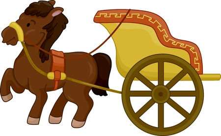 chariot: Illustration of a Horse-Drawn ancient chariot