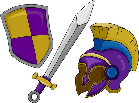 Illustration of Gladiator Helmet Shield and Sword illustration