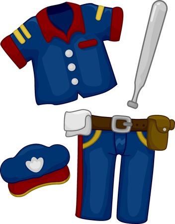 baton: Cartoon Illustration of Police Costume Stock Photo