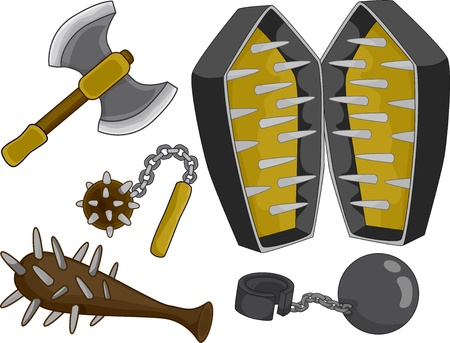 double headed: Illustration of different Medieval Torture Devices and Weapons Stock Photo